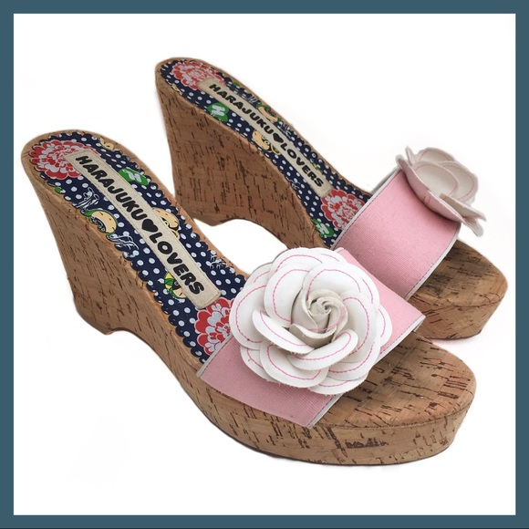 Harajuku lovers shoes 25 pink white flower wedges poshmark m5b14a938c61777bf153a61d7 mightylinksfo